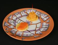 Cesar Baldaccini, Assiette Brisee Broken Plate Paris 1973 with appetizers