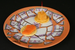 Cesar Baldaccini, Assiette Brisee Broken Plate Paris 1973 with appetizers