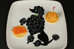 Glidden Pottery Chi Chi poodle plate with appetizers