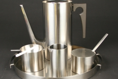 Danish designer Arne Jacobsen Stelton Lauffer Stainless Steel  ashtray with candy cigarette