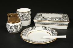 English Wedgwood Bone China Black Florentine smoking set with  ashtray, circa 1960,  with candy cigarette