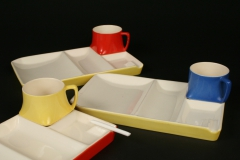 snack set trays with built-in ashtrays, with candy cigarette
