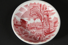 butter pat red transferware