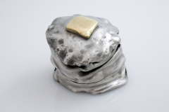 Logan Woodle Butter Dish Pewter Sterling Silver 24k gold brass hi res