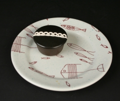 Tepco fish plate with Hostess cupcake