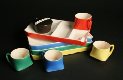 snack set trays with cup and built in ashtray with Hostess cupcake
