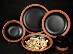 Paul Eshelman 2020.87 red stoneware Wide Rule Dinnerware with pasta
