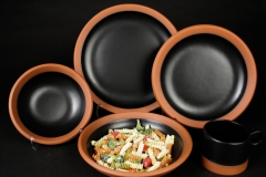 Paul Eshelman 2020.87 red stoneware Wide Rule Dinnerware with pasta
