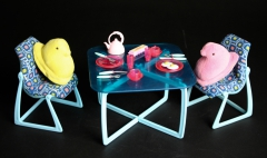 Barbie dining with plush Peep friends