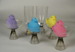 German Rosenthal glassware from the 1960s with plush Peeps
