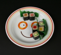 2017.70 Corelle Ware SpaghettiOs 1990 25th anniversary with sushi