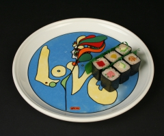Syracuse China Peter Max Love plate with sushi
