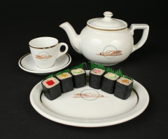 Union Pacific Railroad teapot cup saucer Sterling China oval Trenton with sushi