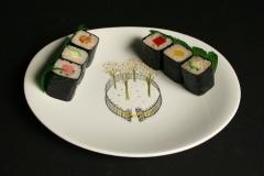 Eva Zeisel Hallcraft Tomorrow's Classic Buckingham with sushi