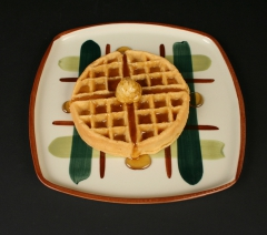 Blair Ceramics Gay Plaid square dinner plate 1946-57 with waffle