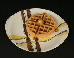 Southern Potteries/Blue Ridge Skylline shape with Ribbon pattern intro 1951 platter with waffle