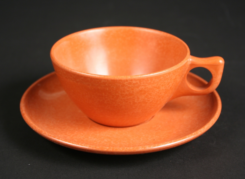 Kaye LaMoyne, designer (American, 1918-1992), The Branchell Company, St. Louis, Missouri (est. 1952), Color-Flyte Melmac Designers Dinnerware cup and saucer in glow copper (coral), 1952-1958, melmac/plastic, Museum Purchase, 2018.76