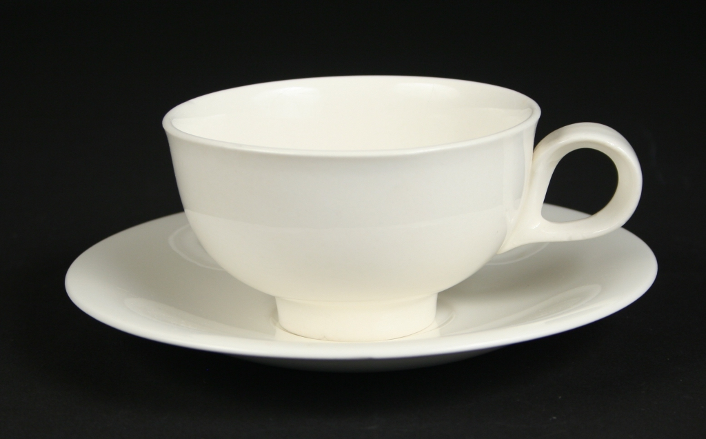 Hall China, Co., East Liverpool, Ohio (est, 1903), Eva Zeisel, designer (American, b. Budapest 1906-2011), Hallcraft Tomorrow's Classic white cup and saucer, 1950s china, glazed, Gift of Margaret Carney and Bill Walker, 2019.171