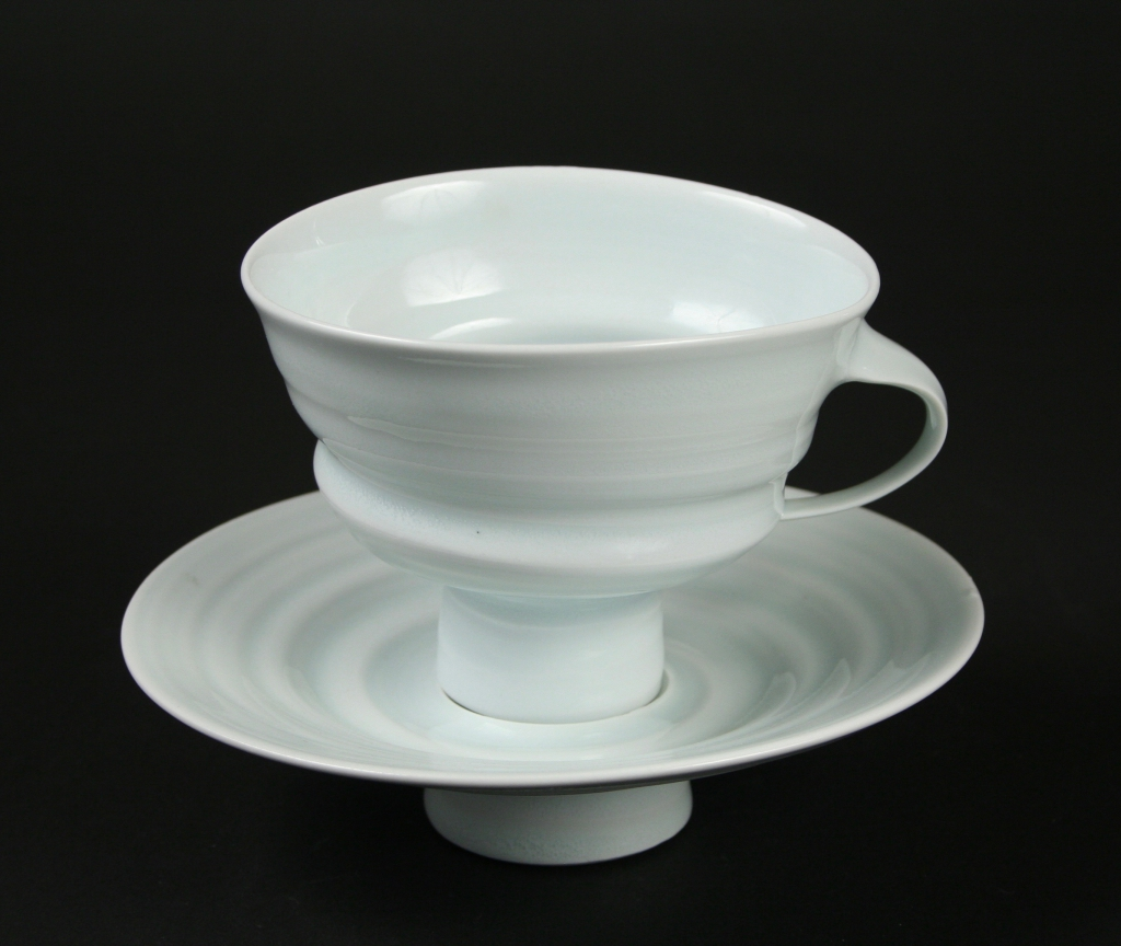 Jim Makins, (American, b. 1946), footed cup and saucer, 1990s, porcelain, celadon glaze, Museum Purchase, 2017.221