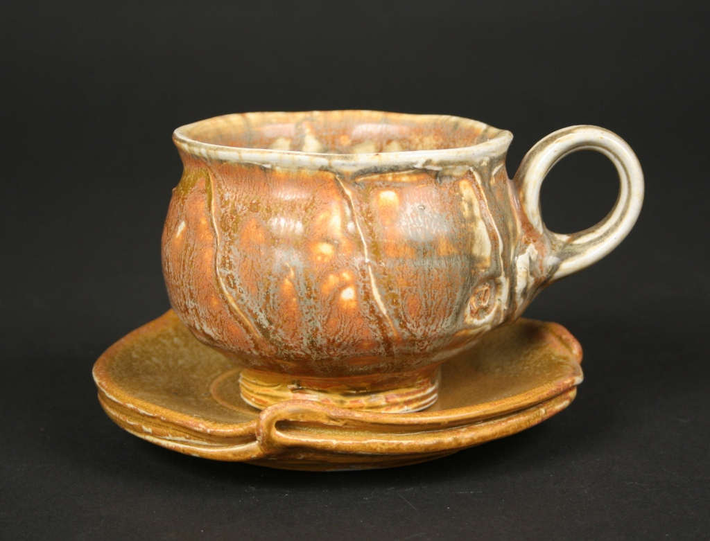 Josh DeWeese (American, b. 1963), soda fired cup and saucer, 2019, porcelain, glazed, Museum Purchase, 2019.166