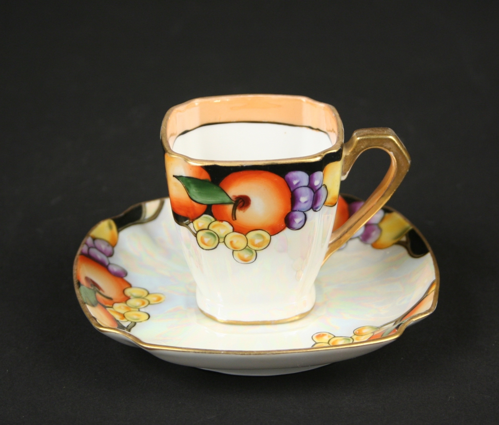 Noritake Co., Japan (1904 - present), Noritake demitasse cup and saucer with fruit motif, (1926 - 1931), porcelain with mother of pearl lustre, Gift of Judith and Martin Schwartz, 2018.56