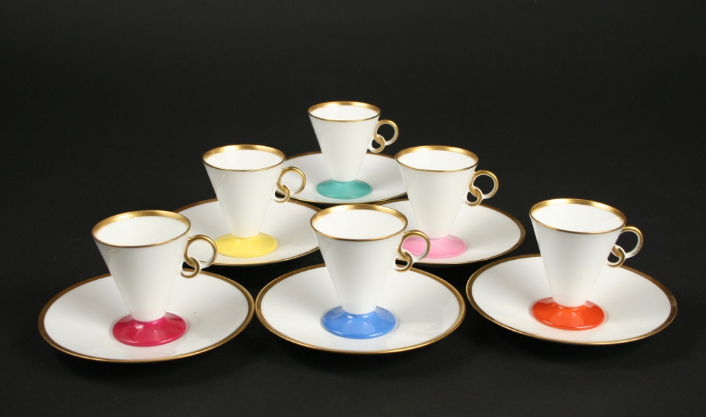 Japanese, set of 6 Okura Art China Art Deco demitasse cups and saucers, 1940s, ceramic, glazed, Gift of Kristen Ohberg, 2013.158.