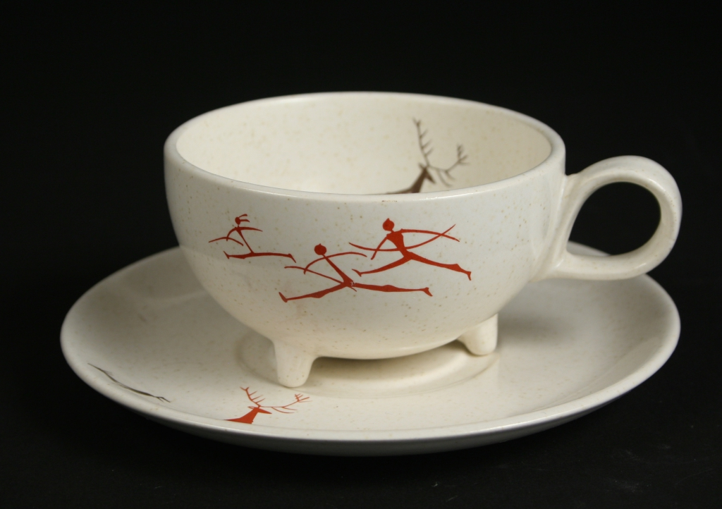 Salem China Co., Salem, Ohio, manufacturer, 1898-1967, Viktor Schreckengost, designer (American, 1906-2008), Free Form shape, Primitive pattern, cup and saucer, 1955, china, semi-vitreous, Gift of Virgene G. Schreckengost, 2013.44, 2013.45
