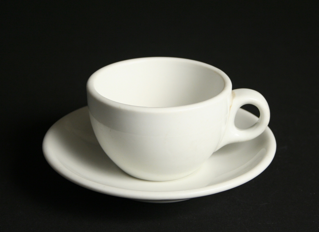 Shenango China, New Castle, Pennsylvania (1901-1991), restaurant ware white cup and saucer, restaurant ware, glazed, Gift of Margaret Carney and Bill Walker, 2019.172