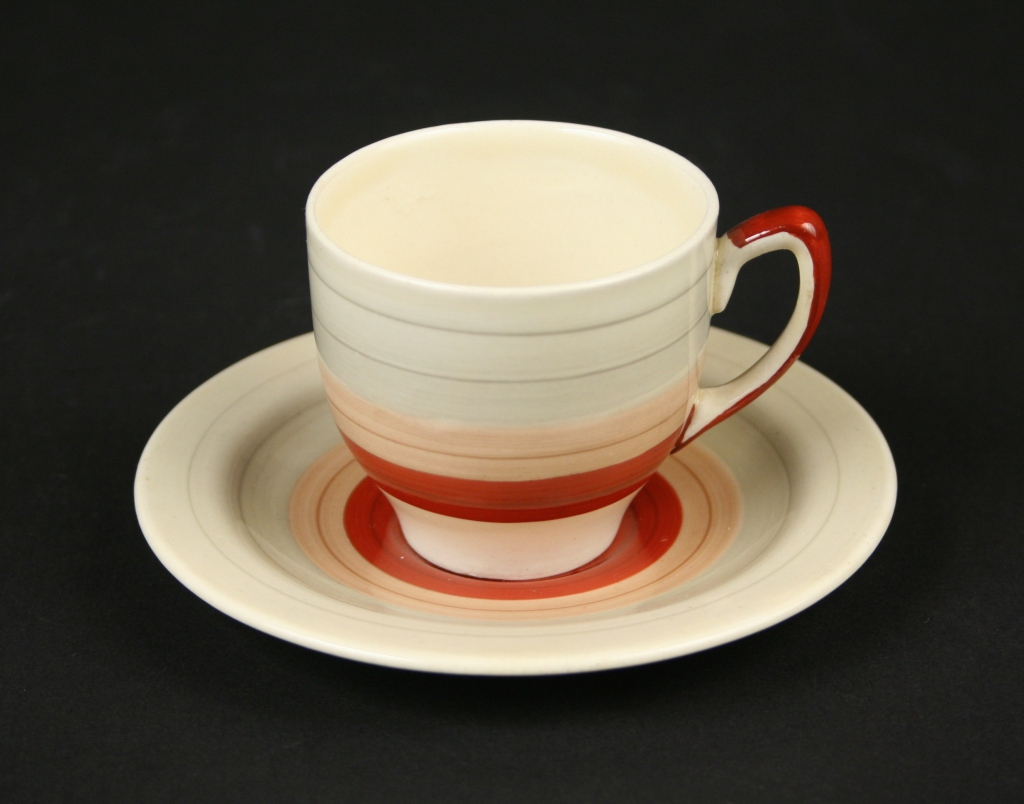 Crown Works, Burslem, England, Susie Cooper (English 1902 - 1995), Susie Cooper designed Kestral Shape, Wedding Band pattern, cup and saucer, circa 1932, semi-vitreous china, glazed and decorated, Museum Purchase, 2017-195