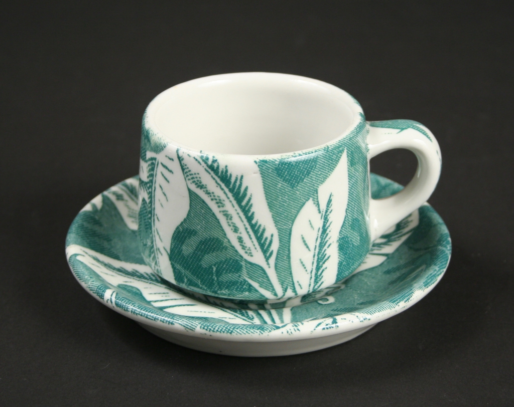 TEPCO (Technical Porcelain and China Ware Company, El Cerrito, California, ca. 1930-1968), TEPCO cup and saucer in Banana Leaf pattern, restaurant china, decorated with decals and glazed, Gift of Nancy and Steve Selvin, 2016.227