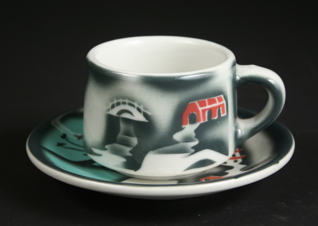 TEPCO China (Technical Porcelain and China Ware Company), El Cerrito, California (1930-1968), TEPCO restaurant ware coffee cup and saucer in the Confucius pattern, restaurant china, glazed with decoration, Museum Purchase, 2018.1 and Gift of Nancy and Steve Selvin, 2015.145